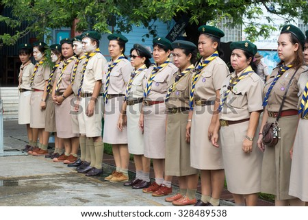 BANGKOK, THAILAND - Oct 6, 2015 : Scout teacher funny time, Scout Camp in Pieamsuwan school Bangkok Thailand.