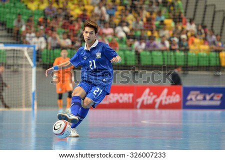 BANGKOK THAILAND-OCT9:Sorasak Phoonjungreed of Thailand in action during 2015 AFF Futsal Championship Match between Thailand and Singapore at Bangkok Arena Stadium on October9,2015in Thailand