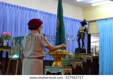 BANGKOK, THAILAND - Oct 6, 2015 : Student 9-10 years old, Scout Assembly, Scout Camp in Pieamsuwan school Bangkok Thailand.