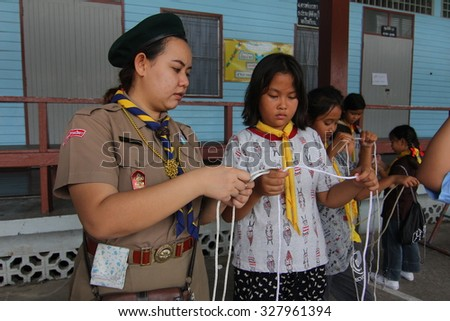 BANGKOK, THAILAND - Oct 5, 2015 : Student 9-10 years old, Scout learn usage rope, Scout Camp in Pieamsuwan school Bangkok Thailand.