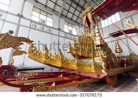 Bangkok, Thailand - Oct 20 : The beautiful and elegance art of Thai royal chariot at the National Museum in Bangkok,Thailand on October 20,2015.