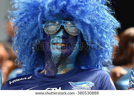 BANGKOK THAILAND- OCT 12 :Unidentified fans of Thai Port Fc supporters during Thai Premier League between Thai Port Fc and Chonburi F.C. at PAT Stadium on October 12,2015 in Bangkok Thailand - stock photo