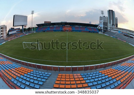 BANGKOK THAILAND-OCT17 :View of PAT Stadium of Thai Port Fc supporters during Thai Premier League2015 between Thai Port Fc and Bangkok United FC at PAT Stadium on October 17,2015 in Bangkok Thailand