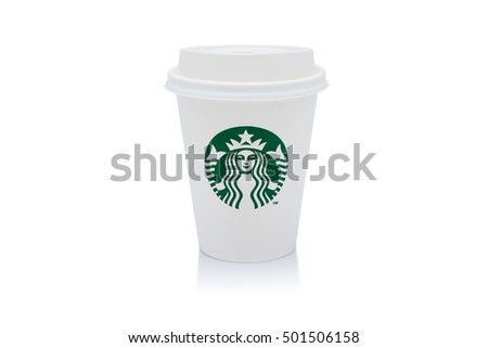 Bangkok, Thailand - OCTOBER 20, 2016 : A cup of Starbucks hot beverage coffee on black background. Starbucks is the world's largest coffeehouse company