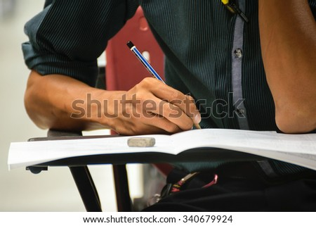 Bangkok, Thailand - October 25, 2015 : Adults take exam for appoint at State Railway of Thailand. - stock photo