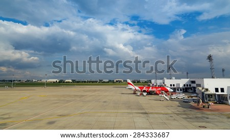 BANGKOK, THAILAND - OCTOBER 19: AirAsia in Bangkok, Thailand on October 19, 2014. Malaysian low-cost airline that operates domestic and international flights to 100 destinations spanning 22 countries