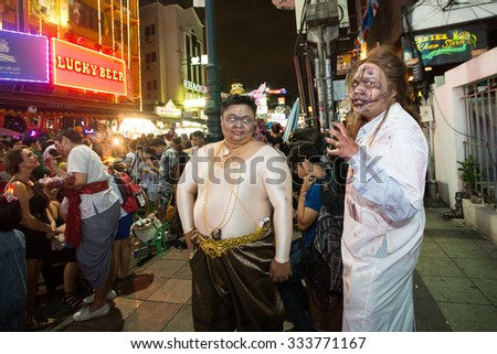 BANGKOK, THAILAND - OCTOBER 31, 2015: An unidentified people wear Halloween costume on Khao San Road.