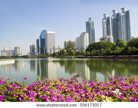 BANGKOK, THAILAND - OCTOBER 23, 2016: Benjakitti Park is a park for honor of Majesty Queen Sirikit in the age of 60 years old. Itâ??s located in an area of old tobacco factory, Bangkok, Thailand.