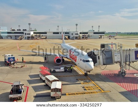BANGKOK, THAILAND - OCTOBER 15, 2015: Boeing 737-900 Thai Lion Air parked at Don Mueang International Airport in Bangkok, Thailand. Thai Lion Airways is the new low cost airline in Thailand.