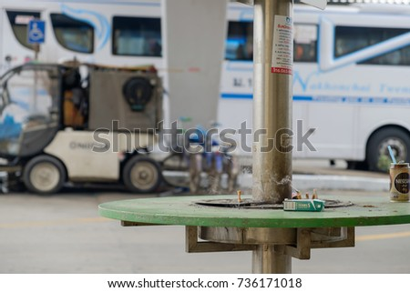 Bangkok, Thailand, 13 October 2017: Cigarette ashtray in outdoor, Smoking area in Bangkok bus terminal (Chatuchak)