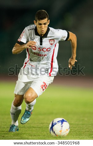 BANGKOK,THAILAND- OCTOBER 31:	Cleiton Silva of Muangthong United. in action during Thai Premier League 2015 Army Utd. and Muangthong United at Army stadium on Oct 31, 2015 Bangkok,Thailand - stock photo