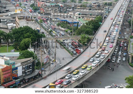 Bangkok, Thailand - October 1, 2015 : Daytime of Bangkok city. Bangkok is the capital and the most populous city of Thailand.