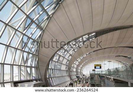 BANGKOK, THAILAND - OCTOBER 18 : Interior of Suvarnabhumi Airport terminal's gate taken October 18, 2014 in Bangkok. The Suvarnabhumi Airport is the main airport of Bangkok and hub of Asia. - stock photo