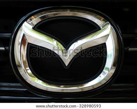 Bangkok, Thailand - October 17,2015 : Logo of brand Mazda on black car
