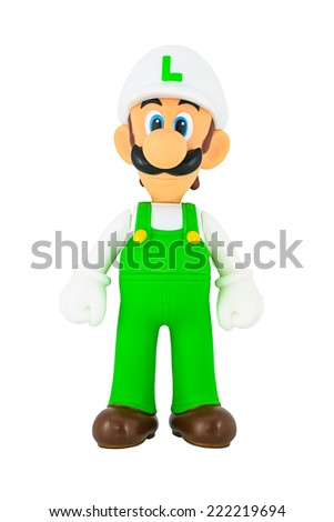 Bangkok, Thailand - October 5: Luigi toy action figure character from Super Mario video game console developed by Nintendo EAD.
