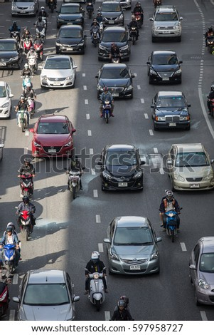 BANGKOK, THAILAND - OCTOBER 28, 2016: Morning traffic in Bangkok city, Thailand.