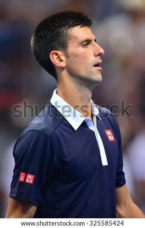 BANGKOK THAILAND OCTOBER 02:Novak Djokovic of Serbia reacts during the Black to Thailand Nadal vs Djokovic exhibition match at Hua Mark Indoor Stadium on Oct 2, 2015 in,Thailand.