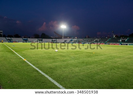 BANGKOK,THAILAND- OCTOBER 31:panoramic views of Army stadium during Thai Premier League 2015 Army Utd. and Muangthong United at Army stadium on Oct 31, 2015 Bangkok,Thailand