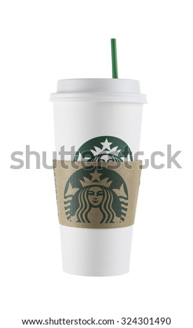 BANGKOK, THAILAND - October 6,2015: Photo of Starbucks coffee cup  - stock photo