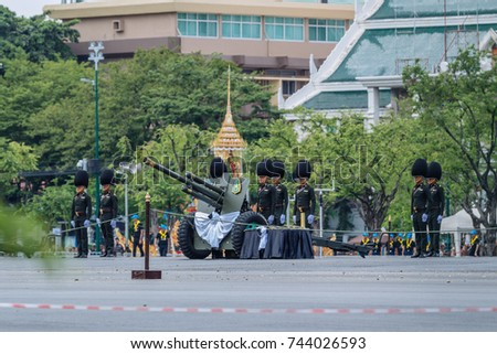 Bangkok, Thailand - October 7 : The first rehearsal of the procession for the Royal Cremation Ceremony of His Majesty King Bhumibol Adulyadej at Sanam Laung on October 7, 2017 in Bangkok, Thailand.