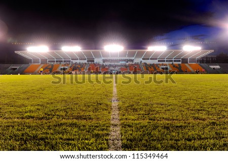 BANGKOK THAILAND-OCTOBER 3: view of Thai Army Stadium before match during Thaicom FA Cup between Army United F.C.and SCG Muangthong utd.at Thai Army Stadium on Oct 3,2012 in Bangkok,Thailand - stock photo