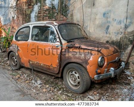 Old car stock images royalty free images vectors for Garage fiat flers