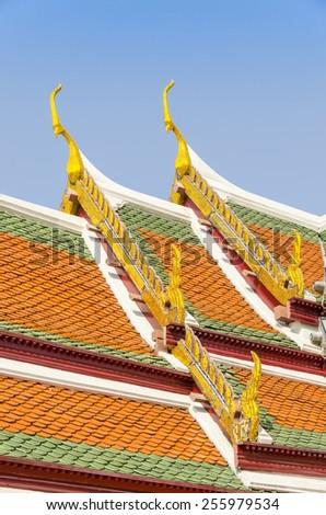 Bangkok, Thailand - Royal Palace and Wat Phra Kaeo Complex  - decorative roof - stock photo