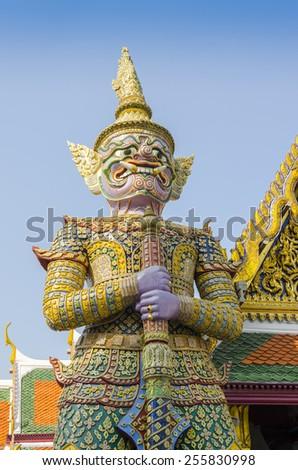 Bangkok, Thailand - Royal Palace and Wat Phra Kaeo Complex - statue - stock photo