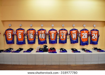 BANGKOK THAILAND-SEP20 :Athletic dressing rooms team of Thai Port Fc during Thai Premier League2015 between Thai Port Fc and Chonburi F.C. at PAT Stadium on September20,2015 in Bangkok Thailand - stock photo