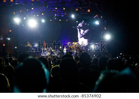 BANGKOK, THAILAND - SEP 23 : Linkin Park rock band performs live concert during thousand suns tour on September 23, 2011 in Bangkok Thailand.