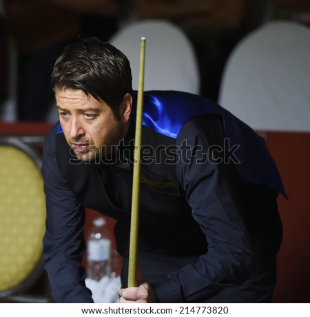 Bangkok, Thailand - SEP 3:Matthew Stevens of Wales participates in a Sangsom Six-red World Championship 2014 at Montien Riverside Hotel on September 3, 2014 in Bangkok, Thailand.