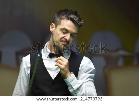 Bangkok, Thailand - SEP 3:Michael Holt of England participates in a Sangsom Six-red World Championship 2014 at Montien Riverside Hotel on September 3, 2014 in Bangkok, Thailand.
