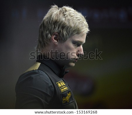 Bangkok, Thailand - SEP 3:Neil Rebertson of Australia participates in a Sangsom Six-red World Championship 2013 at Montien Riverside Hotel on September 3, 2013 in Bangkok, Thailand.