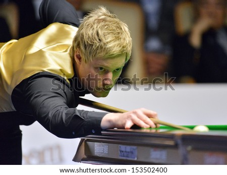 Bangkok, Thailand - SEP 7:Neil Robertson of Australia in action during Sangsom Six-red World Championship 2013 at Montien Riverside Hotel on September 7, 2013 in Bangkok, Thailand.