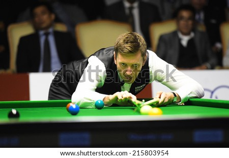 Bangkok, Thailand - SEP 6: Ricky Walden of England in action during the final match Sangsom Six-red World Championship 2014 at Montien Riverside Hotel on September 6, 2014 in Bangkok, Thailand.