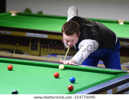 Bangkok, Thailand - SEP 3:Shaun Murphy of England participates in a Sangsom Six-red World Championship 2014 at Montien Riverside Hotel on September 3, 2014 in Bangkok, Thailand.