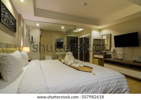 BANGKOK, THAILAND - SEP 25 : The Deluke Pool Access room type of the Suvarnabhumi ville Hotel.is located near Suvarnabhumi airport. on September 25, 2016 in Bangkok, Thailand