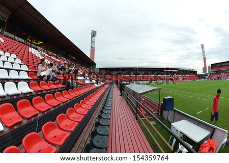 BANGKOK,THAILAND-SEP 14:The home stadium of Muangthong United during football Thai Premier League 2013 between Muangthong United and TOTSC at SCG stadium on Sep 14,2013 in Thailand.