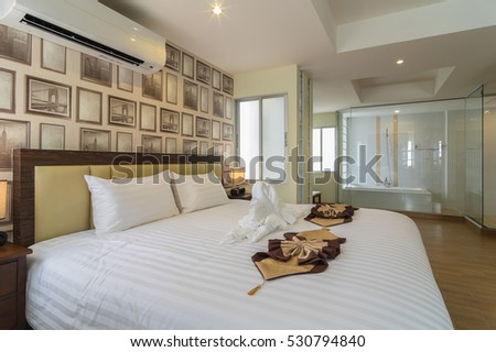 BANGKOK, THAILAND - SEP 25 : The junior Pool Access room type of the Suvarnabhumi ville Hotel which include bathroom. is located near Suvarnabhumi airport. on September 25, 2016 in Bangkok, Thailand