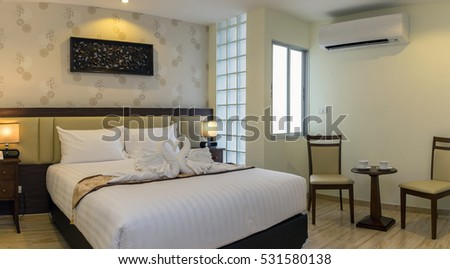 BANGKOK, THAILAND - SEP 25 : The Superior room type of the Suvarnabhumi ville Hotel.is located near Suvarnabhumi airport. on September 25, 2016 in Bangkok, Thailand