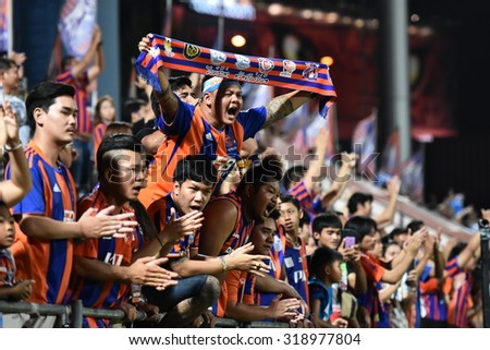 BANGKOK THAILAND-SEP20 :Unidentified fans of Thai Port Fc in action during Thai Premier League2015 between Thai Port Fc and Chonburi F.C. at PAT Stadium on September20,2015 in Bangkok Thailand - stock photo