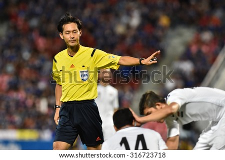 BANGKOK THAILAND SEP8:Unidentified referee in action during the Fifa World Cup Group F qualifying Match between Thailand and Iraq at Rajamangala Stadium on September 8,2015 in Thailand.