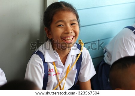 BANGKOK, THAILAND - SEP 18, 2015: Unknown children in Academic Activities day at Elementary School. Pieamsuwan school, Bangkok Thailand, The teacher asked the students questions.