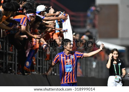 BANGKOK THAILAND-SEP20:Wuttichai Tathong of Thai Port Fc Selfie during Thai Premier League2015 between Thai Port Fc and Chonburi F.C.at PAT Stadium on September20,2015 in Bangkok Thailand - stock photo