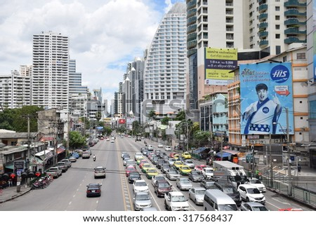 Bangkok, Thailand - September 13 , 2015: Asok montri Road on September 13, 2015. people are waiting for Traffic light on Asok intersection.