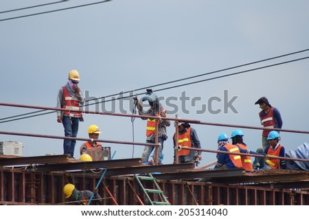 Bangkok, Thailand, 28 September, 2013, Construction worker are constructing way of BTS train.