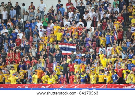 BANGKOK THAILAND - SEPTEMBER 6 : Football Fanclub of THA in action during FIFA WORLD CUP 2014 (Round 3), between Thailand(B) and Oman(R) at Rajamangla Stadium on September 6, 2011  Bangkok, Thailand.