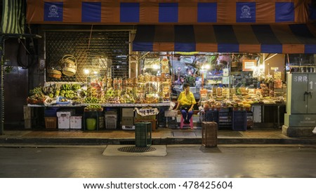 Bangkok, Thailand - September 3, 2016 :Fruiterer selling many types of fruit on china town (Yaowarat) Road,once of Bangkok landmark and important street for more foods very delicious thai-chinese .