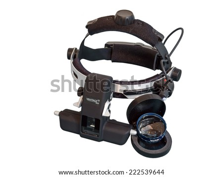 BANGKOK, THAILAND - SEPTEMBER 26, 2014: Indirect ophthalmoscope, Keeler brand, is instrument for eye examination. It is for retinal examination, used by ophthalmologist.