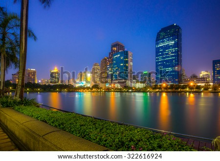 BANGKOK, THAILAND - September 13, 2015: Landscape of Bangkok city in night time. Capture from Benjakitti Park. This place is very popular that tourists like to take photos of modern architecture.